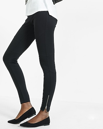 ponte knit moto zip legging