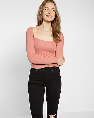 express one eleven ribbed square neck tee
