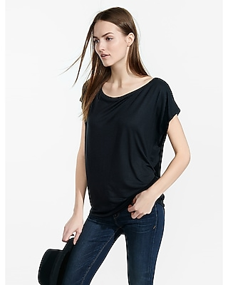 Express Womens Express One Eleven Off-The-Shoulder Tee Black X Small