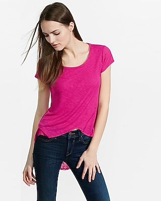 Express Womens Express Womens Ribbed Slub Express One Eleven Crossover Hi-Lo Tee Pink X Small 86092786