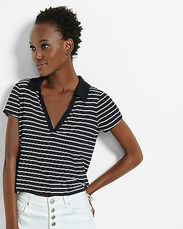 express one eleven cropped deep v-neck polo