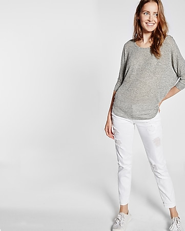 express one eleven marled cocoon wedge tee