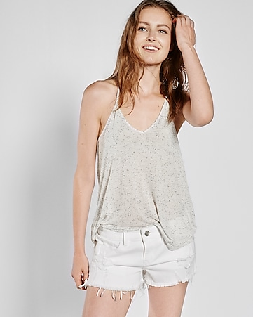 express one eleven nep knit t-back trapeze cami