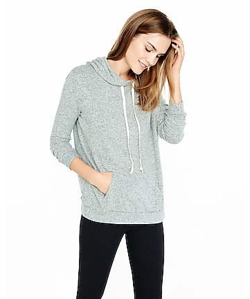 express one eleven gray plush jersey hoodie