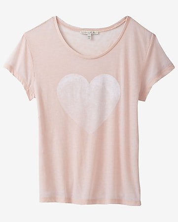 express one eleven heart graphic boxy tee