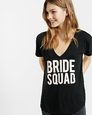 EXPRESS Women's Tees Express One Eleven Bride Squad London Tee Black Small