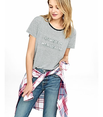 striped express one eleven wild heart graphic tee