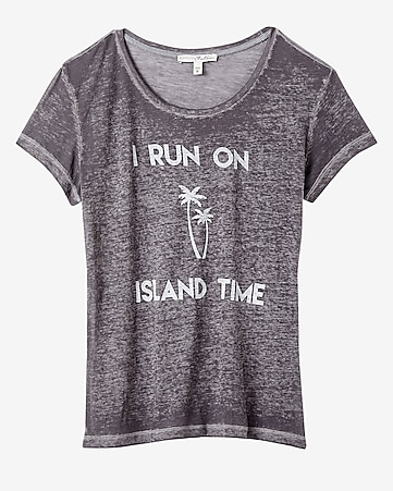 express one eleven island time graphic boxy tee