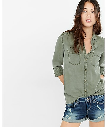 olive green silky soft twill boyfriend shirt