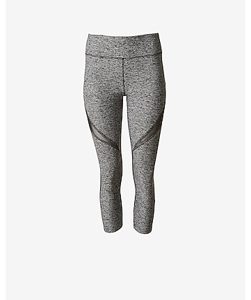 marl mesh inset EXP core compression crop legging