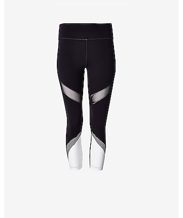 EXP core color and mesh pieced crop legging