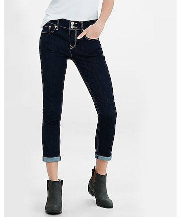 mid rise dark blue cropped cuffed jean leggings