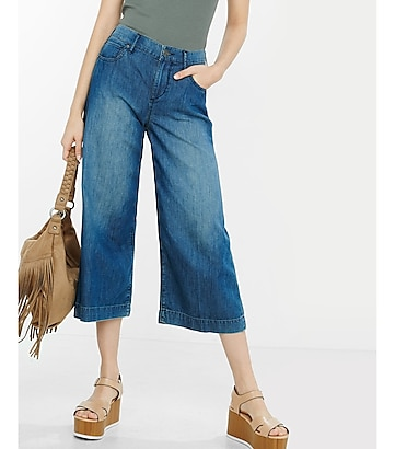 high-waisted denim culottes