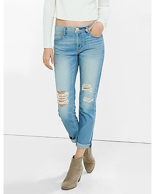 Express Womens Distressed Faded Girlfriend Jean