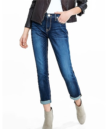 dark wash girlfriend jeans