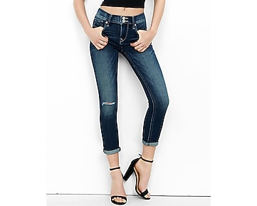 distressed mid rise cuffed cropped jean legging