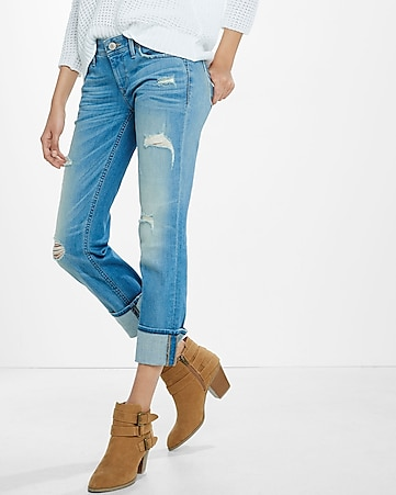 distressed low rise cropped cuffed skinny jean