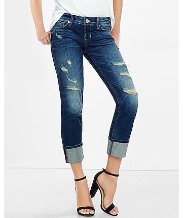 distressed low rise cuffed cropped skinny jean