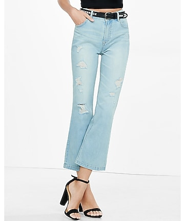 distressed high rise bell crop jeans