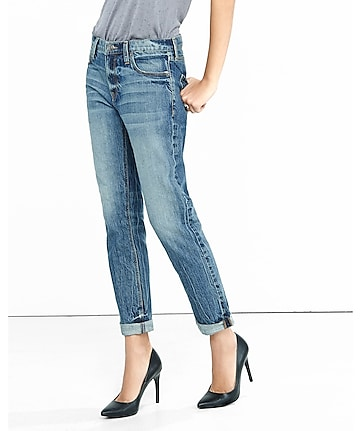 faded medium wash rigid girlfriend jeans