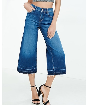 high rise released hem denim culottes