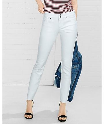 white mid rise raw hem cropped jean leggings