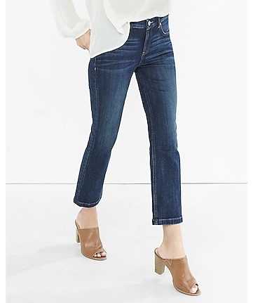 dark high rise bell crop jean