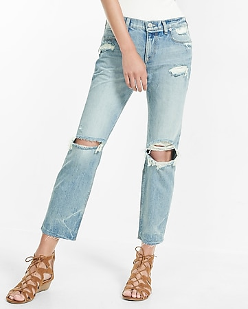 distressed raw hem girlfriend jeans