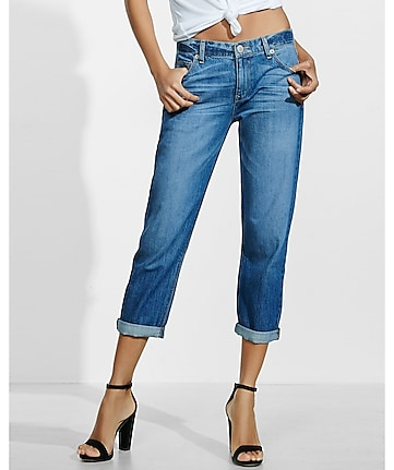 medium blue wash faded boyfriend jeans