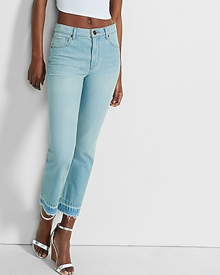 Express Womens High Rise Released Hem Straight Crop Rigid Jeans