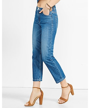high rise medium blue straight crop rigid jeans