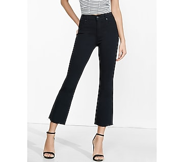 high waisted raw hem bell crop jean