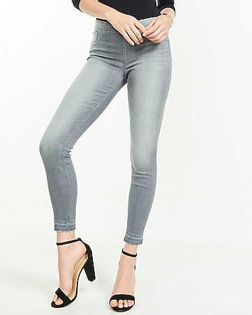 mid rise pull-on released hem jean leggings