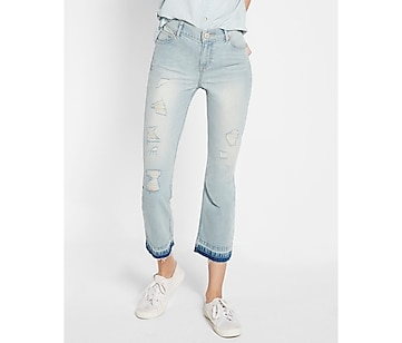 high waisted distressed bell crop jeans