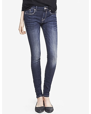 Express Womens Faded Dark Mid Rise Jean Legging