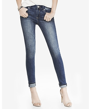 medium wash mid rise jean legging