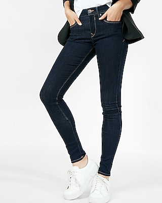 Express Womens Solid Dark Mid Rise Jean Legging