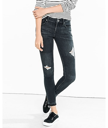 black distressed mid rise ankle jean legging
