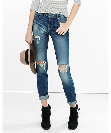 distressed dark blue faded express 90S jean