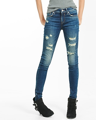 Express Womens Mid Rise Dark Wash Distressed Stretch Jean Leggings