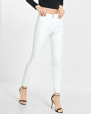 high rise white lace-up jean legging