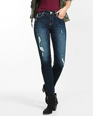 Express Womens Distressed Mid Rise Super Skinny Jeans