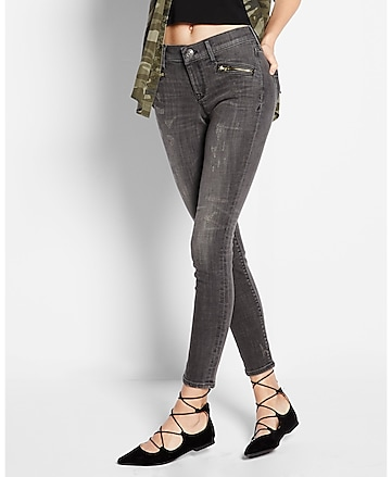 mid rise zip pocket jean legging