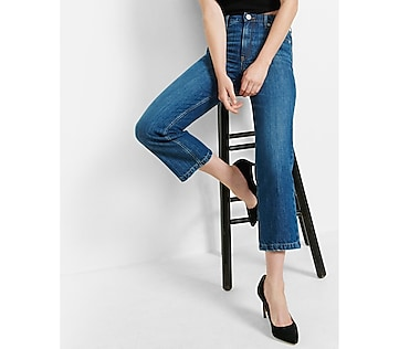 high waisted straight crop jeans