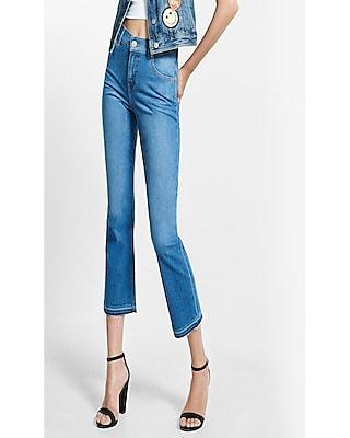 Express Womens High Waisted Released Hem Bell Crop Jeans