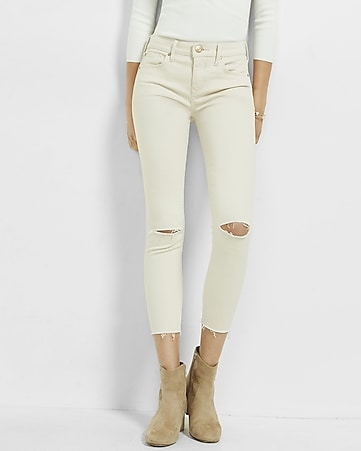 ivory mid rise raw hem ankle jean leggings