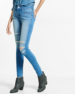Express Womens Distressed Mid Rise Express Tech Jean Legging