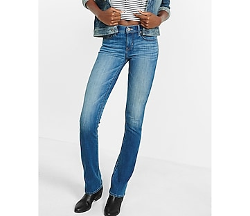 medium wash mid rise barely boot jeans