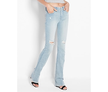 mid rise distressed barely boot jean