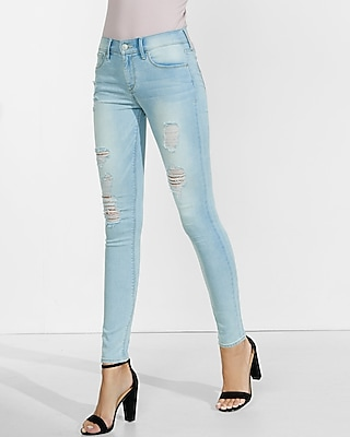 Express Womens Faded Distressed Mid Rise Jean Leggings